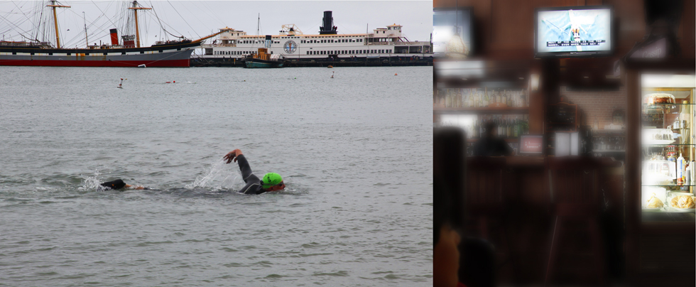 Swimmer in San Francisco and a cafe with TV