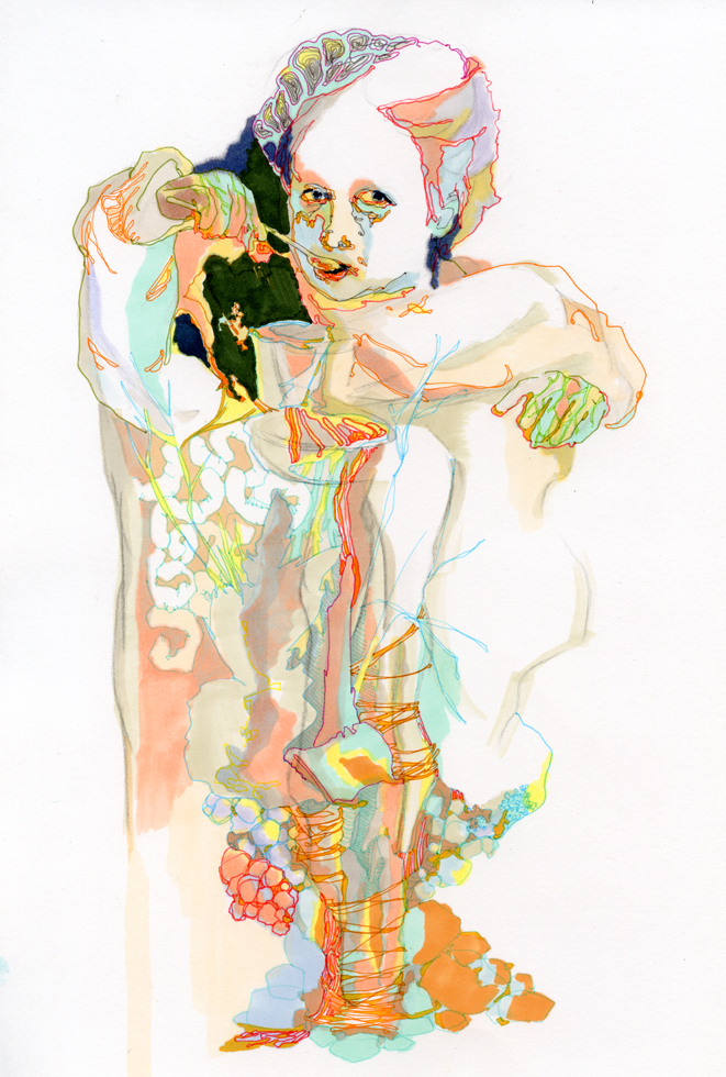Glaia Offri, Girl With Spoon, Markers on Paper